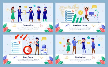 Set Banner Written Graduation, Excellent Grade. Poor Grade. Teachers give Diplomas and Awards to Graduates. Girl Student Jumping for Joy at High Score her Test. Vector Illustration. Ilustracja