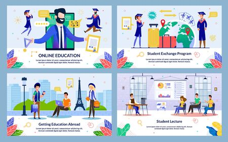 Set Vector Illustration Student Lecture, Slide. Banner Online Education, Getting Education Abroad, Student Exchange Program. Guy and Girl with Tourist Backpacks Met City Near Historical Monument.