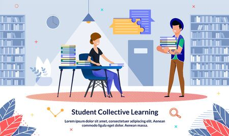 Vector Student Collective Learning, Cartoon. Girl Sitting at Table with Pile Books on Background Bookshelves. Illustration, Guy Carries Lot Books. Successful Joint Training at University.