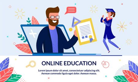 Vector Banner Online Education at University. On Center, Man with Beard got out his Laptop and Shows Student Mantle Diploma and Sign about Graduation from an Educational Institution. Illustration