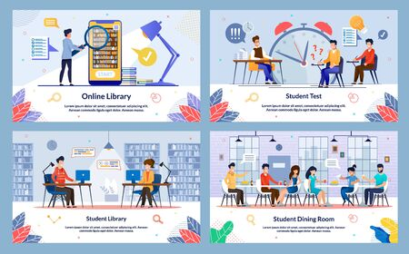 Set Student Dining Room, Online Library, Slide. Vector Illustration Student Library, Student Test, Cartoon. Guy Poorly Prepared and Experiencing Stress. Student Well Prepared and Happy.