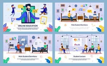 Male Student Dormitory, Student Lecture, Slide. Set Online Education. Screen Tablet, Bearded Man Holds Medal and Diploma his Hands, Guy and Girl are Flying next. Vector Illustration. Ilustracja