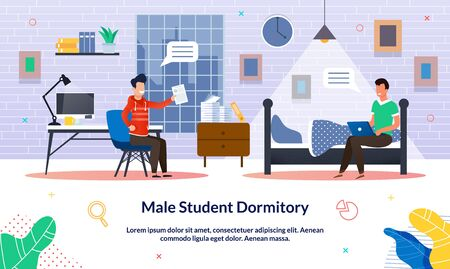 Vector Illustration Male Student Dormitory, Flat. Student is Happy with Positive Mark for Test, Guy is Sitting on Bed and Working on Laptop. Friendly Communication in Male Dormitory. Ilustração Vetorial
