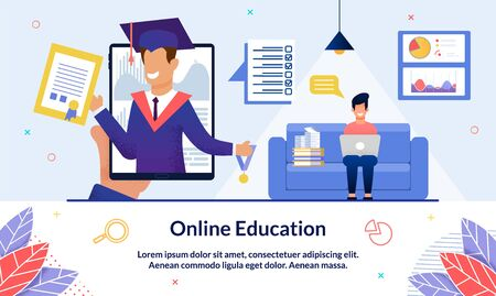 Bright Illustration Inscription Online Education. Guy Sits with Laptop in his Hands at Home and Studies Remotely. On Devices Screen, University Graduate with Diploma and Badge, Slide.