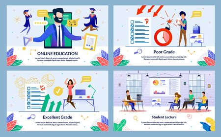 Flat Banner, Inscription Excellent Grade, Cartoon. Set Online Education, Poor Grade, Student Lecture. Girl in Sportswear Enthusiastically Jumps for Joy after Receiving High Test Score. Ilustracja
