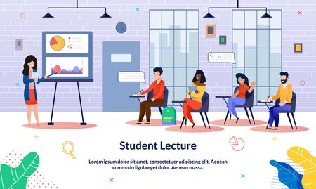 Banner Inscription Student Lecture, Audience. Guys and Girls Sit at Lecture Classroom and Carefully Listen to Teachers Woman. Teacher Explains Decree Using Graphs and Charts, Slide. 向量圖像