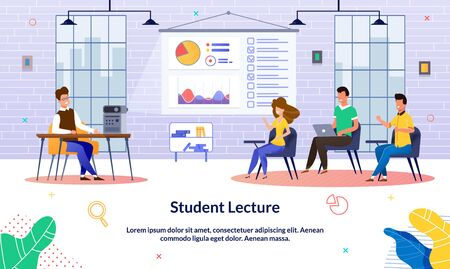 Illustration Student Lecture at University, Flat. Male Teacher Shows Training Information Using Video Projector. Boys and Girls Sit in University Auditorium and Watch Presentation Video from Teacher. 向量圖像