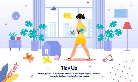 Home and Apartment Cleaning, Commercial Babysitter Service Trendy Vector Advertising Banner, Promo Poster Template. Woman, Mother Collecting Children Toys Scattered on Apartment Floor Illustration