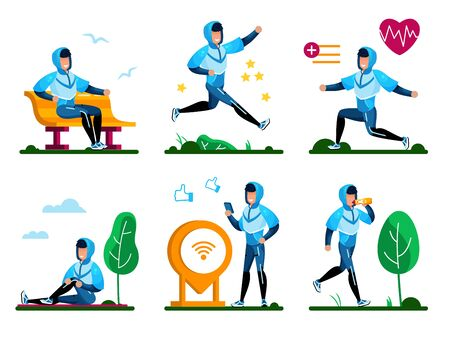 Healthy Lifestyle Routines Trendy Flat Vector Concepts Set. Man in Tracksuit Jogging in Park, Stretching, Doing Cardio, Resting After Training, Sharing Results Online, Drinking Water Illustration