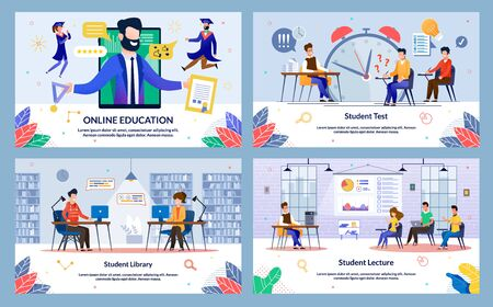 Set Online Education, Student Lecture, Cartoon. Banner Student Library, Student Test. Guy and Girl are Sitting Library at Table and Looking at Laptop, Doing Online Recordings. Vector Illustration.