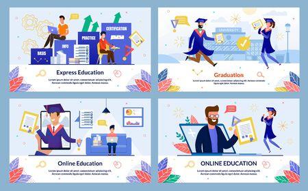 Set Banner Online Education, Graduation, Cartoon. Express Education. Man and Woman Graduates School Fun Jumping With Joy on Background University Building, Slide. Vector Illustration. Ilustracja