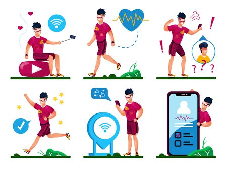 Modern Teenager Healthy Lifestyle, Active Daily Life Trendy Flat Vector Concepts Set. Young Man Recording Mobile Video, Communicating with Cellphone, Jogging, Walking Outdoors Isolated Illustrations