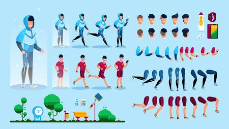 Sportsman in Sportswear Trendy Flat Vector Character Constructor Design Elements Set. Jogging in Park Active Man in Tracksuit, Face Expressions, Body Parts, Mobile Devices for Fitness Illustrations