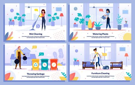 Professional House or Office Cleaning Service, Trendy Flat Vector Ad Banners, Posters Set. Female, Male Workers Mopping Floor, Vacuuming Furniture, Watering Plants, Throwing Garbage, Illustration Illusztráció
