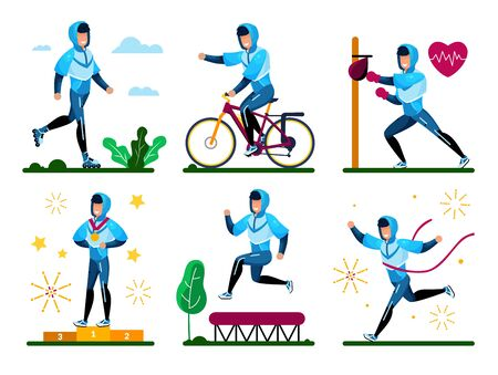 Young Sportsman, Male Athlete in Sportswear Riding Rolling-Skates, Bicycle, Boxing with Bunching Bag, Jumping on Trampoline, Winning Competition Trendy Flat Vector Isolated Character Illustrations Set Illustration