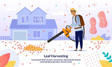 Autumn Foliage Season Leaves Removal Service Trendy Vector Advertising Banner, Promo Poster Template. Cleaning Service Worker, Man Removing Trees Leaves from House Backyard with Blower Illustration Ilustración de vector