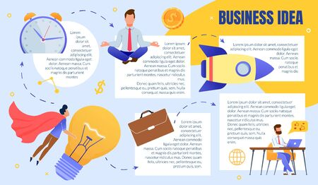 Creative Business Ideas Generation Process Flat Vector Explanation Scheme, Infographics Template, Sample Text Blocks, Meditating, Working at Desk Businessman, Superhero Carrying Bulb Lamp Illustration