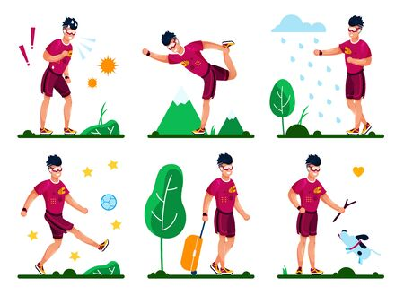 Man Happy and Healthy Lifestyle, Summer Outdoor Activities Trendy Flat Vector Set. Young Guy Playing Ball, Stretching in Park, Walking with Gog, Going on Travel, Tired After Training Illustrations Illusztráció