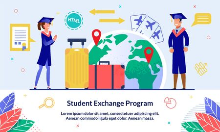 Vector Illustration Student Exchange Program. Guy and Girl with Suitcases Uniform are Standing against Background Globe. Students Travel According to Curriculum. Plane Tickets and Baggage.