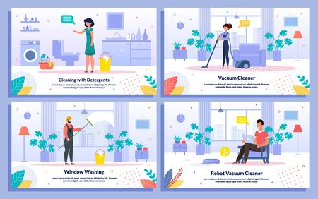 Home and Office Cleaning Service Jobs, Detergents, Robot Vacuum Cleaner Trendy Flat Vector Banners Set. Workers Vacuuming Floor, Washing Window, Satisfied with Cleaning Housewife and Man Illustration
