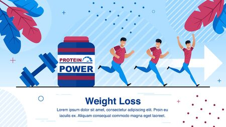 Weight Loss, Healthy Lifestyle Trendy Flat Vector Banner, Poster Template, Obese African-American Man Jogging, Running, Doing Exercises, Eating Sports Nutrition, Progressing on Trainings Illustration Illustration