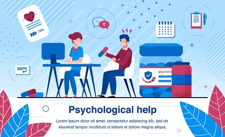 Psychological Help and Psychiatrist Counseling Trendy Flat Vector Banner, Poster. Stressed, Worried and Frustrated Man Suffering from Depression, Visiting Therapist, Female Psychologist Illustration