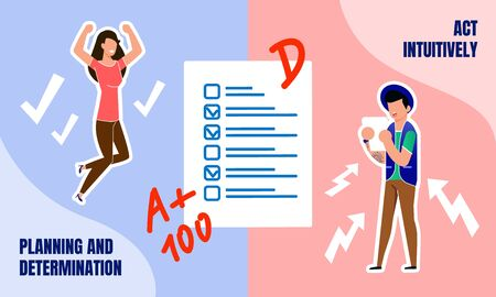 Preparations and Training for College Exams, Education Process Planning Trendy Flat Vector Concept with Female, Male Students Watching on Written Exam, Worried Because of Tests Results Illustration Ilustracja