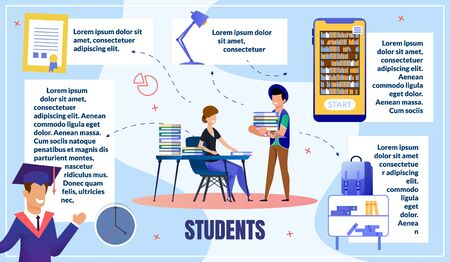 College or University Students Education Process Flat Vector Infographics, Poster Template with Sample Text Blocks, Female, Male Students Studying in Library, Celebrating Graduation Illustration