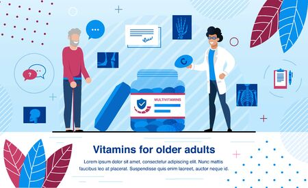 Vitamins and Minerals for Elderly People Bones Health and Strengthening Trendy Flat Vector Banner, Poster Template. Male Doctor, Nutrition Specialist Recommending Vitamins for Senior Man Illustration