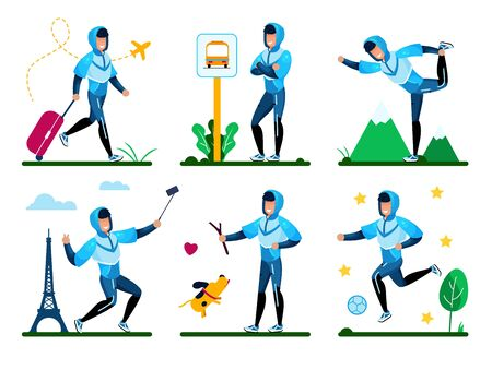 Young Man Summer Time Activities, Active Lifestyle Trendy Flat Vector Set. Happy Guy Pulling Luggage Bag, Waiting Bus on Stop, Shooting Selfie in Trip, Walking with Dog, Playing Ball Illustration Foto de archivo - 134877522