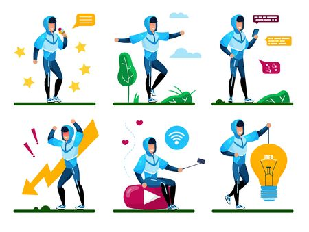 Young Man Daily Routine, Active Lifestyle Trendy Flat Vector Concepts, Life Situations Set. Male Teenager, Guy Chatting in Social Networks, Eating Sweets, Filling Stress, Generating Ideas Illustration  イラスト・ベクター素材
