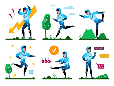 Active Young Man Angry Because Problems, Feeling Stress, Jogging, Stretching and Squatting Outdoors, Playing in Soccer in Park, Communicating with Friends Online Trendy Flat Vector Illustrations Set