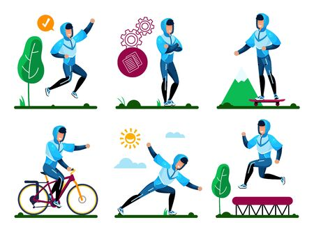 Summer Outdoor Activities, Outside Fitness, Recreation and Sports in Park Trendy Flat Vector Concepts Set. Man in Sportswear Skateboarding, Biking, Stretching, Jumping on Trampoline Illustrations