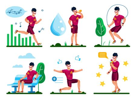 Young Man Leading Healthy Lifestyle, Listening Music While Jogging, Jumping Rope, Stretching and Squatting Outdoors, Drinking Water, Eating Ice-Cream After Training Trendy Flat Vector Illustrations Illustration