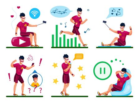 Young Man Active Lifestyle Daily Routines Trendy Flat Vector Concepts Set. Guy Listen Music While Jogging, Posting Photos, Videos Online, Arguing on Phone, Relaxing and Eating Ice-Cream Illustration Stockfoto - 134877521