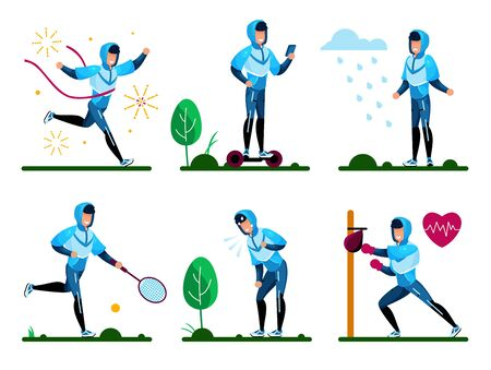 Summer Sports, Recreation Outdoors Activities Trendy Flat Vector Isolated Concepts Set. Man in Sportswear Riding Hoverboard, Playing Tennis, Boxing with Punching Bag, Crossing Finish Line Illustration