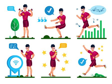 Summer Activities and Outdoor Fitness Training for Healthy Lifestyle Trendy Flat Vector Concepts Set. Young Man in Shorts, Tracking Workout Results with Cellphone, Relaxing After Training Illustration Illustration