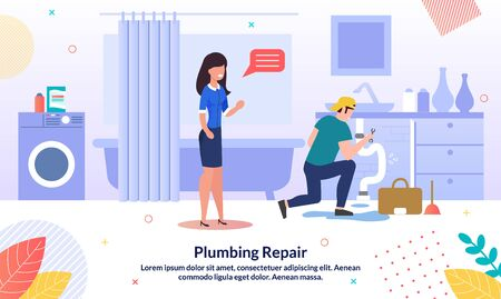 House Plumbing Company, Professional Repairmen Service Trendy Vector Advertising Banner, Promo Poster Template. Woman Waiting for Sink Pipe Leakage Repair, Plumber Working in Bathroom Illustration