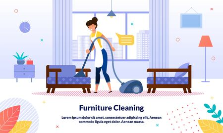 Home, Office Cleaning Company, Hotel Room Cleanup Service Trendy Vector Advertising Banner, Promo Poster Template. Housewife, Hotel Female Attendant Cleaning Furniture with Vacuum Cleaner Illustration Ilustração