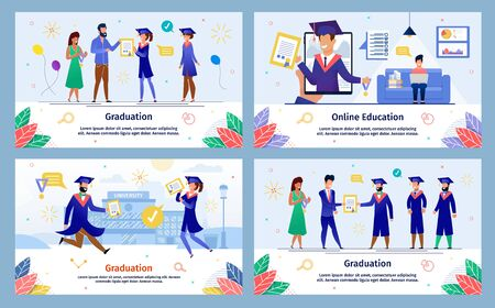 Successful Distance Education, College Graduation Ceremony Trendy Flat Vector Banners, Posters Templates Set. Female, Male Students Studying Online, Celebrating University Graduation Illustration
