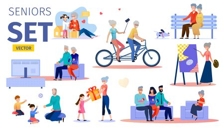 Happy, Active Senior People Trendy Flat Vector Characters Set. Aged Couple Having Fun Together, Grandparents Playing with Grandchildren, Engaging Hobby, Gathering with Relatives at Home Illustration Ilustrace