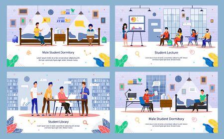 Modern University or College Students Routine Trendy Flat Vector Banners, Posters Set. Students Characters Sitting on Lecture, Studying in Library, Spending Time in Dormitory with Friend Illustration
