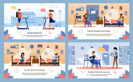 Modern Student Daily Life, Collage or University Happy Time Trendy Flat Vector Banner, Poster Templates Set. Students Riding Scooter, Collective Learning in Library, Resting in Dormitory Illustration