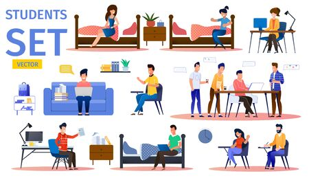 Students in College Dormitory Trendy Flat Vector Isolated Characters Set. Female, Male Students Resting, Studying, Surfing Online, Talking with Friends in Dorm Room, Taking Written Exam Illustration