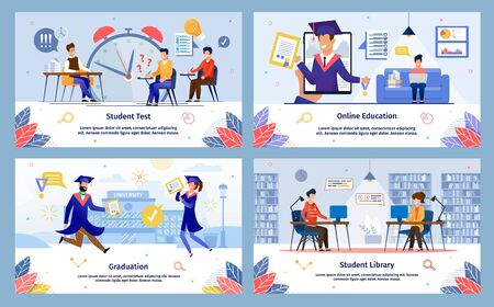 Student Test, Online Education, College Graduation, University Library Trendy Flat Vector Banners, Posters Templates Set. Modern College, University Female, Male Students Life Scenes Illustration