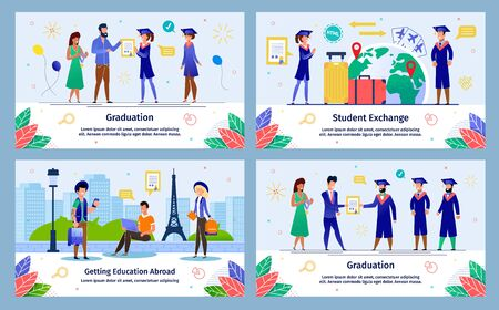 International Students Education, University Students Exchange Program, College Graduation Trendy Flat Vector Banners, Posters Templates Set. Traveling Students, Graduation Ceremony Illustration Imagens - 134877584