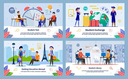 Students Exchange, Education Abroad, College Test, College, University Library Trendy Flat Vector Banner, Poster Templates Set. Female, Male Student Studying Taking Exams, Traveling World Illustration