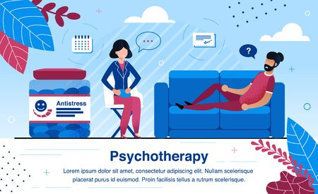 Psychotherapy Practice and Psychological Consultation Trendy Flat Vector Banner, Poster Template. Man Lying on Sofa, Visiting Therapist, Psychiatrist Offering Antidepressants to Patient Illustration Illustration