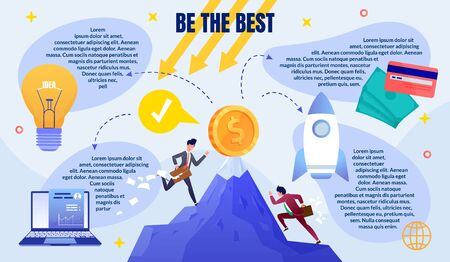 Business Competition Win, Starting Successful Company or Startup Flat Vector Infographics Poster with Sample Text, Competing for Success and Leadership Businessmen Climbing on Mountain Illustration