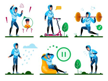 Modern Man, Male Teenager Daily Routine Situations and Activities Trendy Flat Vectors Set. Guy Arguing on Cellphone, Riding Electric Scooter, Having Workout, Resting and Relaxing at Home Illustrations